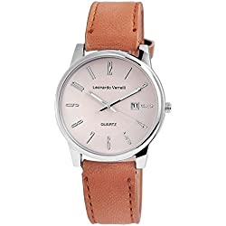 Leonardo VERRELLI Unisex Analog Watch with Quartz Movement 297127500003 Metal Shell With Imitation Leather Wrist Band in Light Brown Buckle Dial Beige 23 cm Bracelet Width: 20 mm