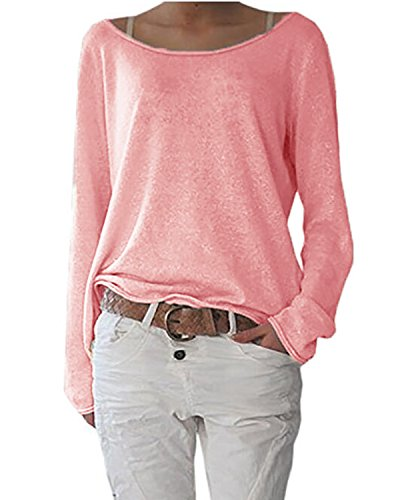 ZANZEA Damen Langarm Lose Bluse Hemd Shirt Oversize Sweatshirt Oberteil Tops Rot EU 40-42/Etikettgröße M