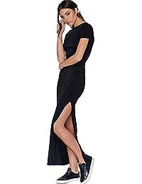 1538bb9dfca1ce Vestiti Donna Casual Moda Nera Estivi Eleganti Lunghi Spiaggia Vestito  Manica corta