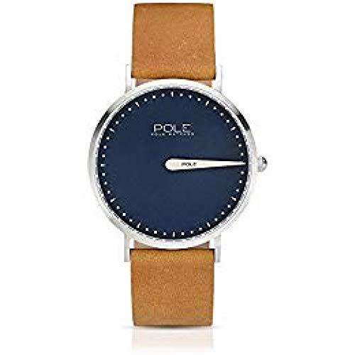 Pole Watches Herren Quarz Analog Armbanduhr Blau und Lederband Senf Modell Classic...