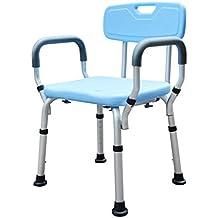 MyAou-Shower Chair Aleación de aluminio portátil antideslizante bañera altura ajustable taburete de baño azul
