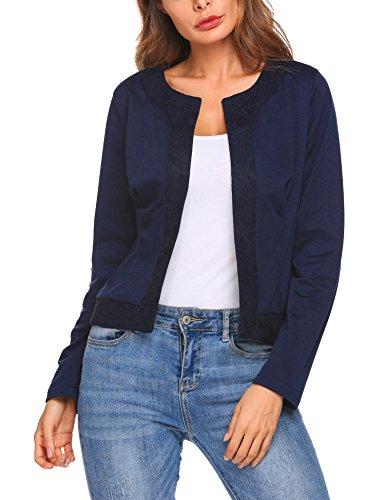 Parabler Damen Herbst Strickjacke Cardigan Blazer Jacke Mantel Pullover Tops (EU 40/ L, Navyblau-X) (Mantel Jacke Blazer)