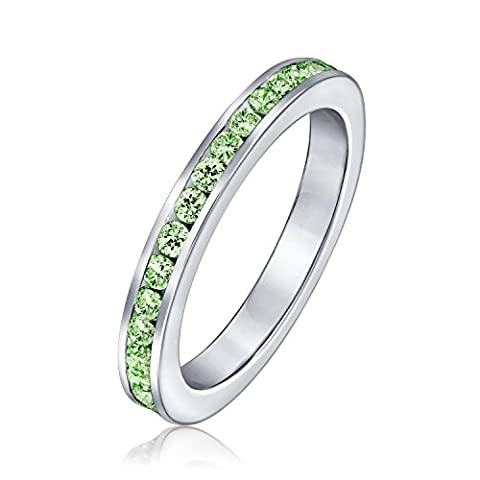 Sterling Silver Simulated Peridot CZ Eternity Ring