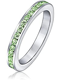 Bling Jewelry Sterling Silver Peridot Color CZ August Birthstone Eternity Ring