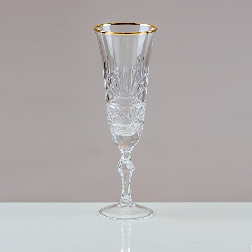 Victoria Kristall Gold mit Rand graufächerschwanz Champagner Flöten 24% geschliffenes Bleikristall 100% Handgefertigt (Set von 6) Cut Punch Bowl