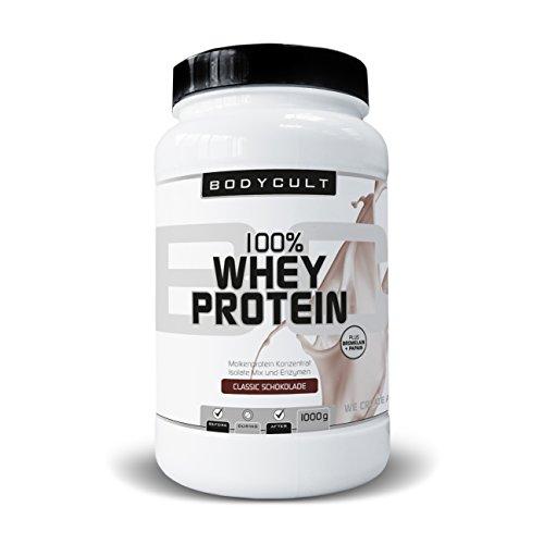 BODYCULT 100% Whey Protein | Molkenprotein Konzentrat, Isolate Mix und Enzymen | Plus Bromelain & Papain | Ideal für Zunahme von Muskelmasse (Schokolade) -