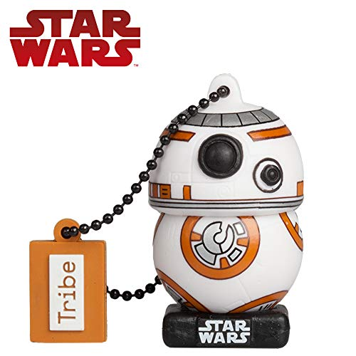 Tribe Star Wars 8 BB8 USB Stick 16 GB Speicherstick 2.0 High Speed Pendrive Memory Stick Flash Drive, Lustige Geschenke 3D Figur, USB Gadget aus Hart-PVC mit Schlüsselanhänger (Starwars Usb-port)