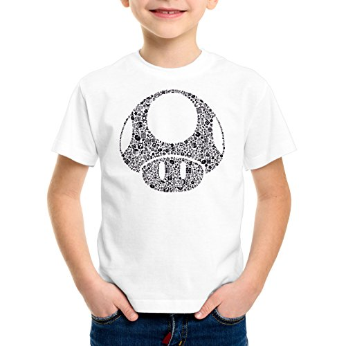 A.N.T. Super Toad Play Kinder T-Shirt Mario Pilz Game Gamer, Farbe:Weiß;Größe:152