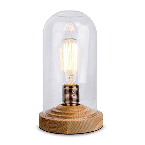 designer antique oak effect wood base and clear glass dome edison steampunk squirrel cage table lamp