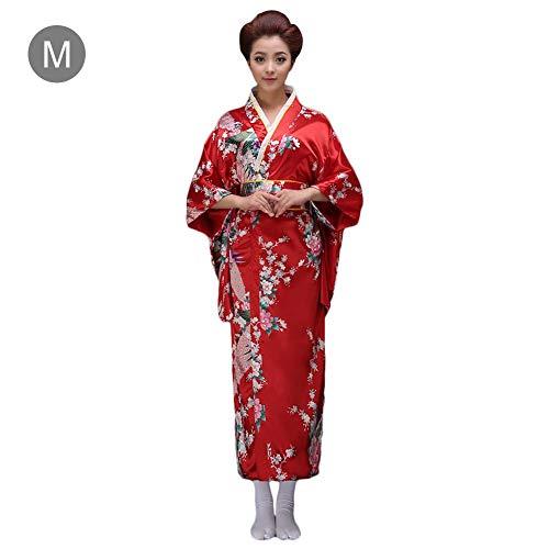 Kimono Kostüm Traditionelle - Bulary Bademantel Japanischen Stil Kleidung Frauen Traditionelle Japanische Kimono Stil Künstliche Seide COS Kleid Uniform Versuchung Studio Foto Yukata Kostüme mit Gürtelschleife