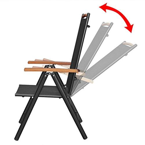 Festnight 9-tlg. Sitzgruppe Sitzgarnitur Gartenmöbel Set aus Aluminium 1 Tisch 190×90 + 8 Stühle 54×73