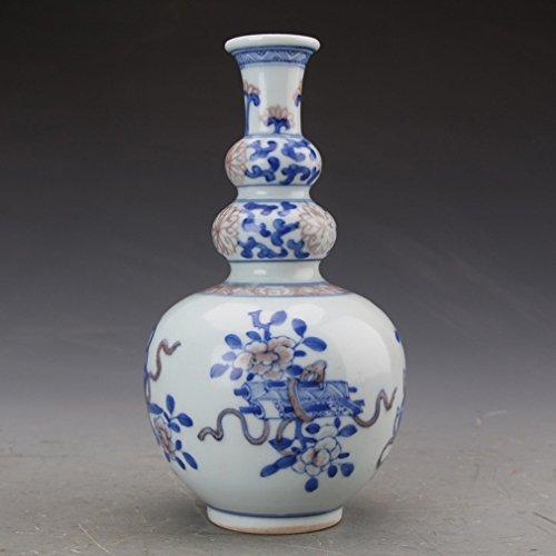 L Y Alte Porzellan Ornamente Antiquitäten Antiquitäten Sammlung Kangxi Blaue Glasur Rot Auspicious Wunsch DREI Flaschenkürbis,A (Antiquitäten Möbel Glasur Für)