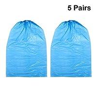 Healifty 5 Pairs Disposable Shoe Covers Overshoes Floor Carpet Shoe Protectors Blue