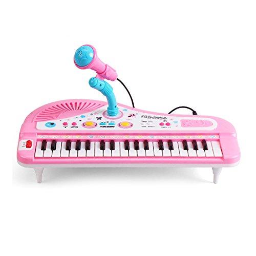 Pianoforte Per Bambini, Finer Shop 37-Tastiera Multi-funzione Elettronico Organo Tastiera Pianoforte con Microfono giocattolo educativo per i bambini - Rosa