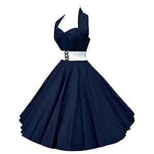 VKStar®Abito retrò Chic Stile Halter Vintage 1950 Audrey Hepburn Vestito da Cocktail Femminile Rockabilly Swing Abito Classico Anni 50