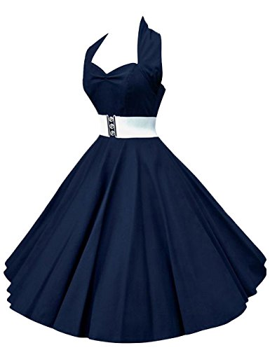 VKStar®Retro Chic ärmellos 1950er Audrey Hepburn Kleid/Cocktailkleid Rockabilly Swing Kleid Marineblau S