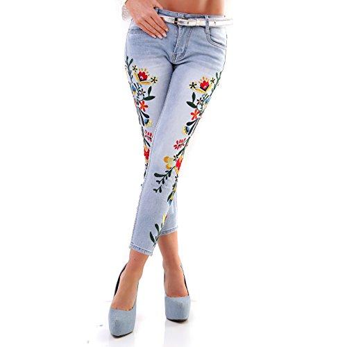 Beautiful 7/8-Jeans im Röhren-Style mit bunter Stickerei Blau