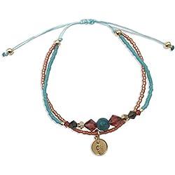 Alessandra Boho Bracelet avec médaille en Argent - Bracelet Double Cordon Turquoise avec Saint Judas Tadeo et Swarovski