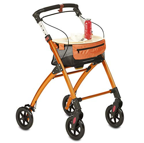 Faltbarer Wohnungsrollator | Leichtgewichtrollator | Inkl. praktischem Tablett & Stoffkorb | Aluminium, besonders wendig | Für die Mobilität zu Hause (orange)