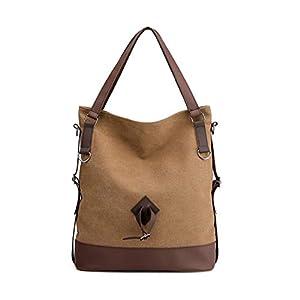 Gindoly Damen Canvas Handtasche Schultertasche Vintage Shopper für Arbeit Schule und Lässige täglich EINWEG