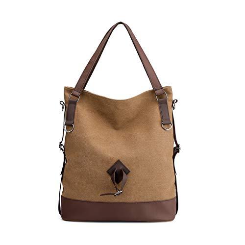Gindoly Damen Canvas Handtasche Schultertasche Vintage Shopper für Arbeit Schule Uni Shopping Reisen(Braun) (Pocket 2 Bag Hobo)
