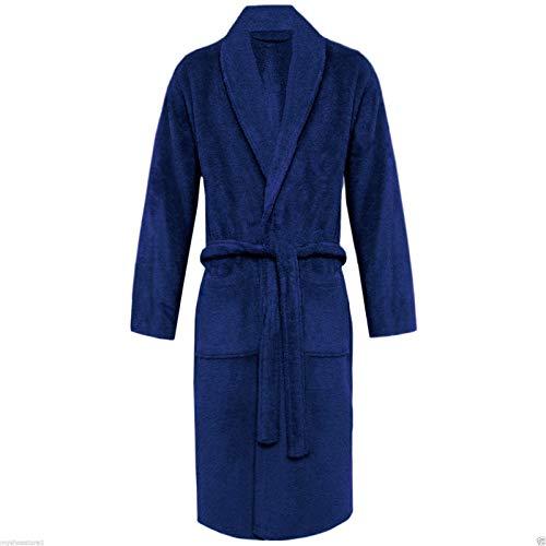 S i i donne/uomini/unisex in spugna di cotone morbido collo a scialle accappatoio abiti da, marina militare, one size-free size