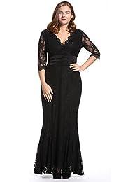 Dilanni Femme Col V Longue Soirée Dentelle Manches 3/4 Promo Grande Taille Noire Robes