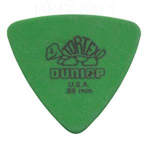 Dunlop Tortex - 12 plettri da chitarra, triangolari, 0,88 mm, colore: verde, in una pratica scatola di latta