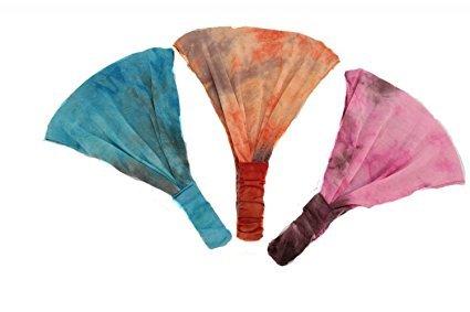 Making Waves Women's Boho Tie Dye Soft Stretchy Headband Trio One Size Turquoise Blue, Orange, Pink