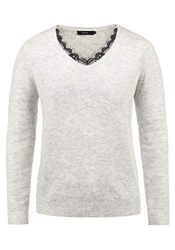 VERO MODA Lacey Damen Strickpullover Feinstrick Pullover Mit V-Ausschnit und Spitze, Größe:L, Farbe:Light Grey Melange