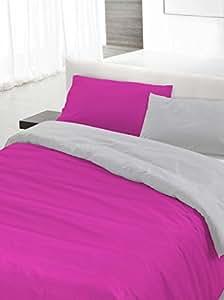 Italian Bed Linen Set Copripiumino Fucsia/Grigio 250 x 200 cm