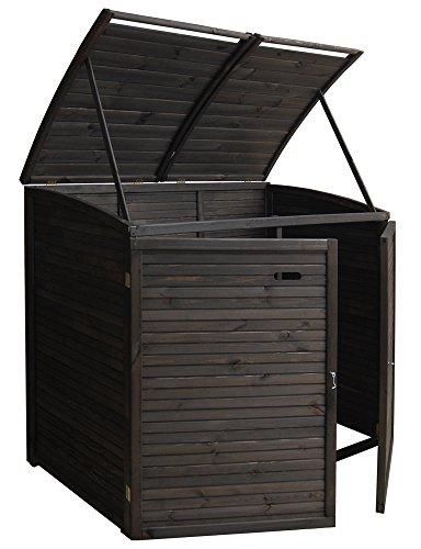 Andrewex Mülltonnenbox für 2Tonnen 156 x97 cm 240 Liter aus Holz Farbton:Anthrazit Mülltonnenschrank Mülltonnenverkleidung - 2