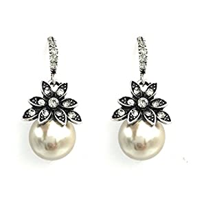 S.A.V.I High Quality Grey Color Big Pearl Drop Elegant Earrings For Women