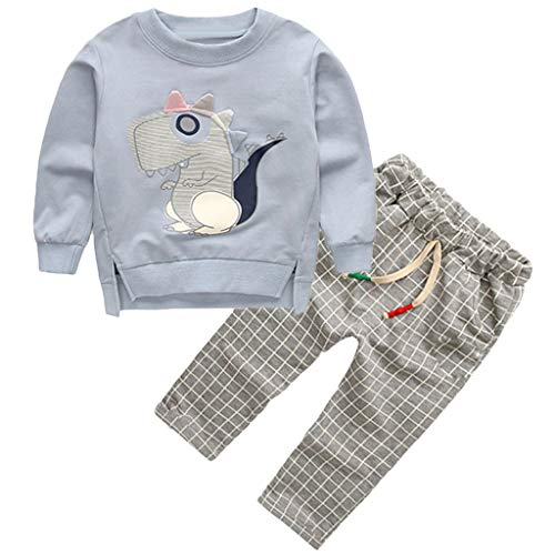 Toddler Kids Baby Boys Sweatshirt Cartoon Tops Plaid Pants Trousers Outfits Set (Wolle Pink Plaid)