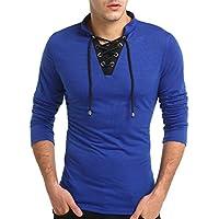 zarupeng Moda para hombre Escote en V Manga larga Frenulum Color Colisión Camiseta Tops Blusa