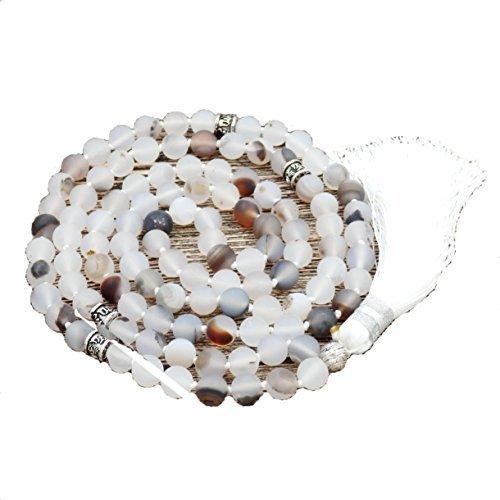 Matte Edelstein Mala Perlen Halskette, mala armband, buddhistische gebetsperlen, verknotete perlenkette (matte blume agate)