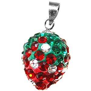 """budawi® – Anhänger """"Erdbeere"""" ca. 13 x 10 mm, Erdbeeranhänger Zirkonia 925er Silber"""