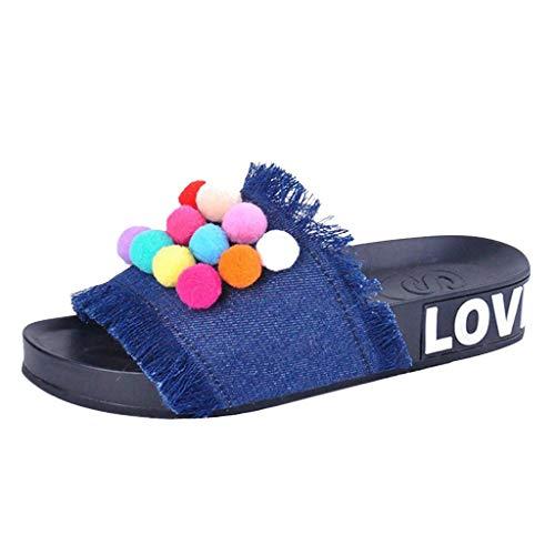 Hausschuhe Damen Sandalen Slipper Frauen Handgemachte Denim Flip Flops Farbe Hairball Flache Sandaletten Freizeitschuhe Peeptoe Sandale ABsoar