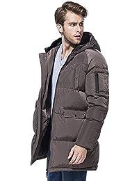 Queenshiny Long Men's Down Coat Jacket white duck down hooded uk size M L UK SIZE