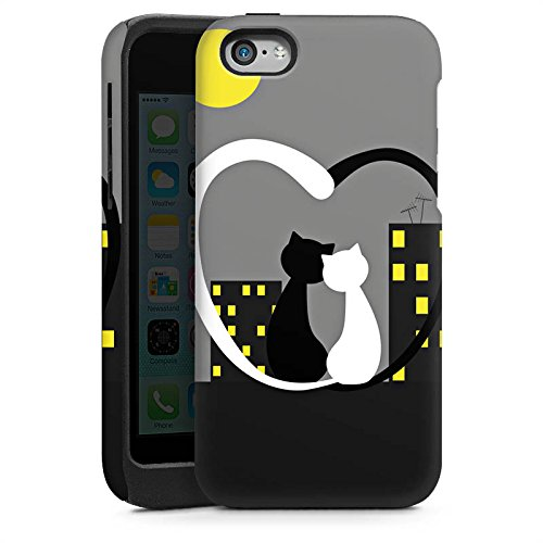 Apple iPhone 4 Housse Étui Silicone Coque Protection Amour Chat Gris Cas Tough brillant