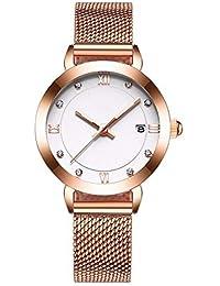 FLLLHHL Reloj para Mujer Casual Reloj liviano Minimalista Reloj de Cuarzo Resistente al Agua Regalo, Todo Rose…