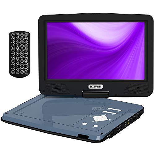 BOIFUN 12,5' Lettore Dvd Portatile con Schermo Girevole a 360° più Luminoso, Batteria Ricaricabile 5 Ore, Cuffie Dual, Supporto SD Card e USB Direttamente riprodotti, Riproduzione Memoria, Grigio