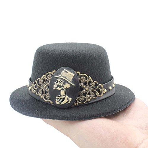 ZHLL- Mützen 2018 DIY handgemachte Steampunk Mini Top Hüte mit Shantou Kopfbedeckungen (Farbe : Schwarz, Größe : 28-30cm)