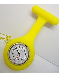 F-eshion Medical Orologio Orologio paramedico Tunica Spilla Medico Infermiere Silicone Fiori Geometrici Modello, Yellow, 9.5 * 3.5 * 2.0