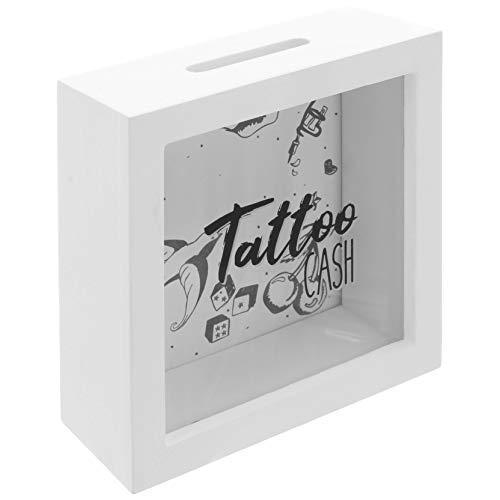 MIK funshopping Spardose Tattoo Cash aus Holz mit Sichtfenster - Spare Geld für Deine Tätowierungen