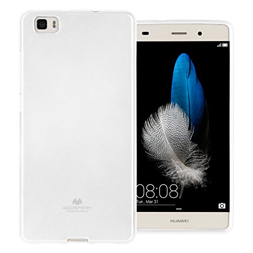 Mercury Marlang Marlang Schutzhülle für Huawei P8 Lite, inkl. Displayschutzfolie [Slim Fit] TPU Case [Flexible] Pearl Jelly [Schutz] Bumper Cover für Huawei P8Lite, weiß Verizon Wireless Pearl