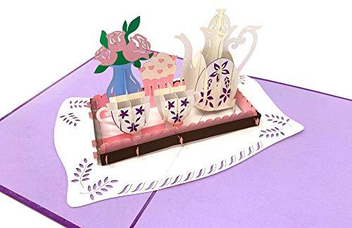 3D Pop up Karte Tee-Service mit Blumenstrauß, Rosen & Cupcake/Muffin, Grußkarte, Glückwunschkarte zum Geburtstag, Geschenkkarte, Happy Birthday Card, Geburtstagskarten Rose Muffin