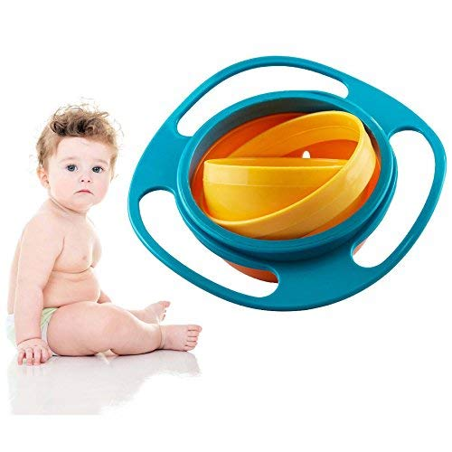 Gearmax Baby Training Tableware Universal 360 Rotate Spit-Proof Bowl Gyroscope Plats Flying Disk Bowls (Bleu + Jaune).