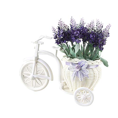(YSoutstripdu 1Bouquet Rattan Float Artificial Bonsai Lavender Flower Bonsai Wedding Party Decor - Purple/Light Blue/Mix Color/White)