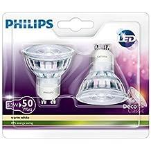 Philips 8718696528334 - Pack de 2 bombillas LED, blanco cálido, consumo 5,3 W, equivalente a 50 W, 2700 K, casquillo GU10